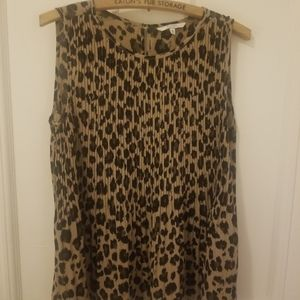 Alfred Sung sleeveless leopard print blouse